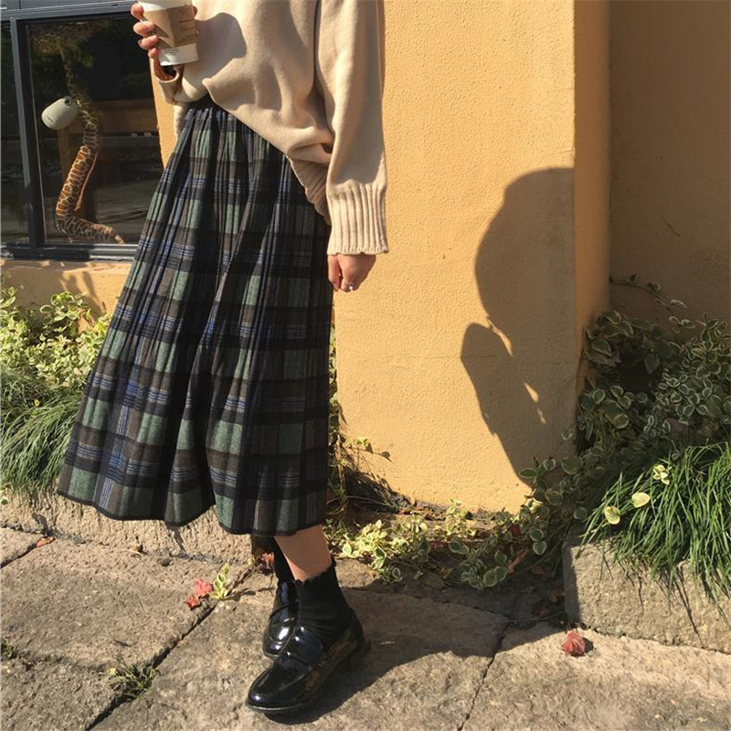 Vintage Wool Pleated Plaid Skirt Women High Waist Plus Size Long Skirt 2019 Autumn Winter Harajuku Female Party Skirt Streetwear