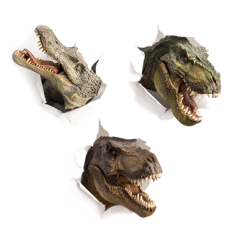 3D Dinosaur Crocodile Wall Sticker Kids Room Bathroom Cupboard Decoration Home Decals Wallpaper Broken Wall Toilet Stickers