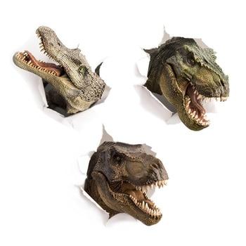 3D Dinosaur Crocodile Wall Sticker Kids Room Bathroom Cupboard Decoration Home Decals Wallpaper Broken Wall Toilet Stickers
