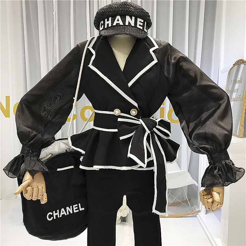 Femmes hauts Designer Vintage ceintures col rabattu manches évasées femmes Blouse mode coréenne Blusas Femininas Elegante