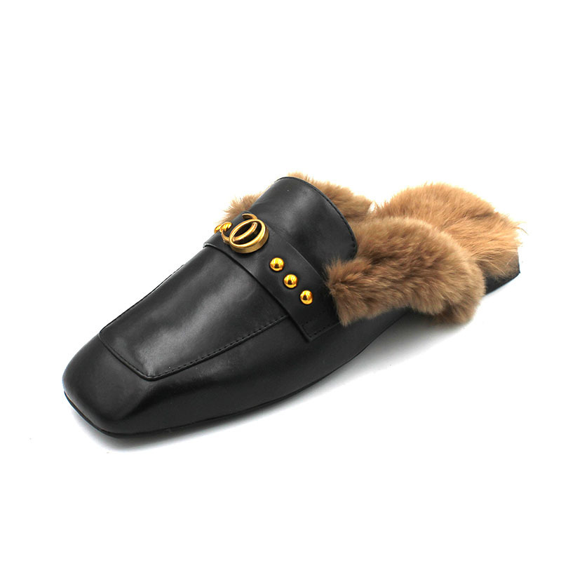 PU Leather Backless Rabbit Fur Sandals Comfortable Mules Slipper Flats Shoes for Women Winter Outdoordoor Women Slides <font><b>P250</b></font> image
