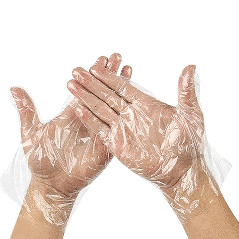120PCS BBQ Shopping Hand Glove Full Finger Protective Disposable Plastic Gloves For Kitchen Home Cleaning Mitten Transparent