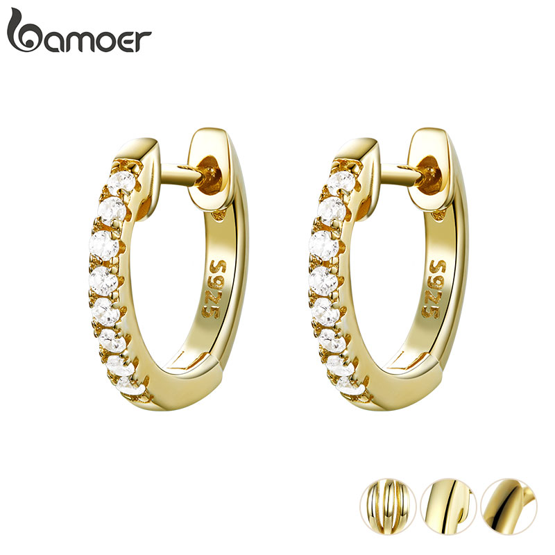 BAMOER Genuine 925 Sterling Silver Round Circle Hoop Earrings for Women Gold Color Earrings Sterling Silver Jewelry Gift SCE498(China)