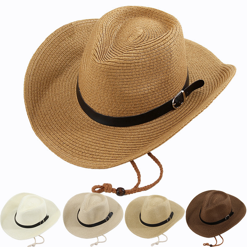 Sun Hats For Women Men Summer Hat Beach Raffia Straw Hat Block PU Leahater Strap Casual Big Wide Brim Summer Hats For Women