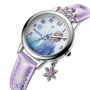 Image 2 - Gefrorene Ⅱ Disney Prinzessin Serie Elsa Luxus Bling Strass Crown Schneeflocke Anhänger Schöne Mädchen Uhren Kinder Uhr Neue