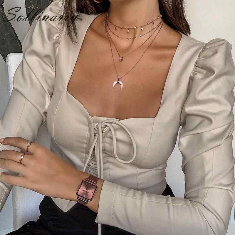 Sollinarry High Fashion Kurze Blusen Frauen 2019 Langarm Spitze Up Schlanke Sexy Bluse Shirts Weibliche Grau Casual Top Busas straße