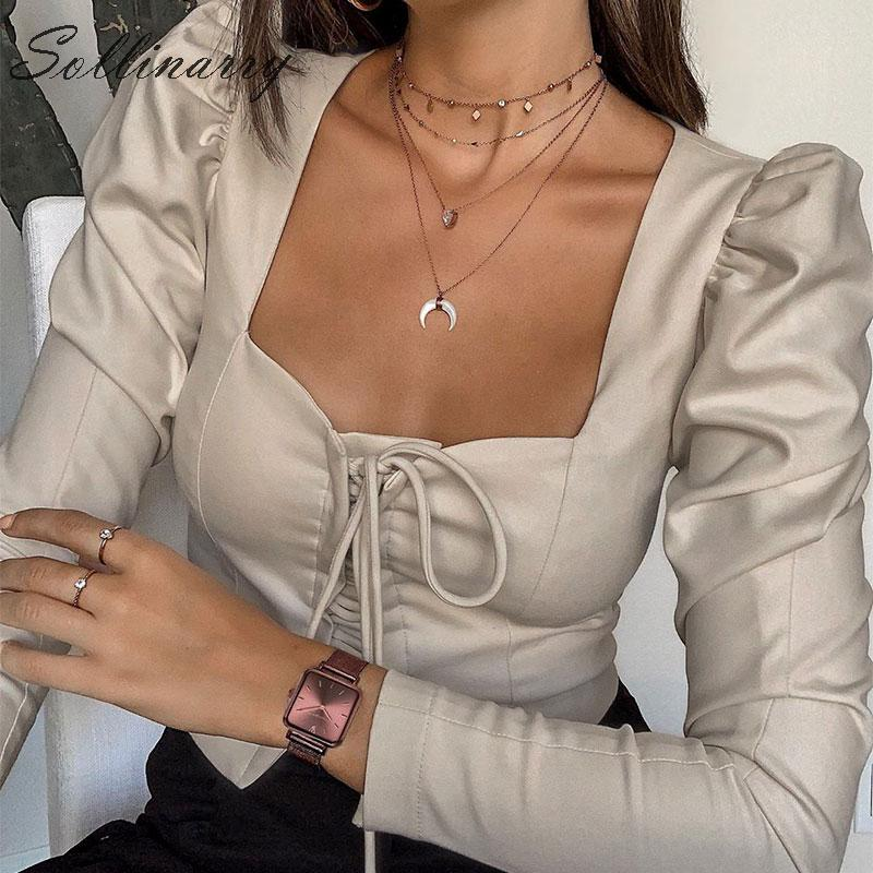 Sollinarry High Fashion Short   Blouses   Women 2019 Long Sleeve Lace Up Slim Sexy   Blouse     Shirts   Female Grey Casual Top Busas Street