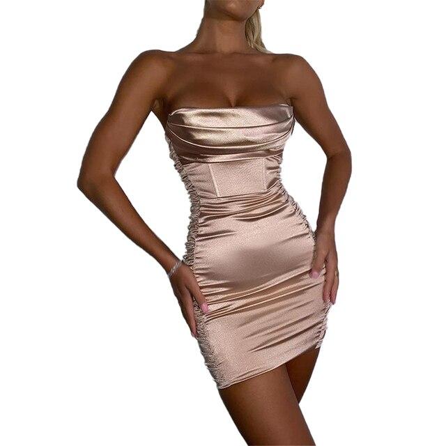 Summer Sexy Off Shoulder Strapless Satin Dress Women Backless Bodycon Silk Party Dress Sleeveless Ruched Short Club Mini Dress 1