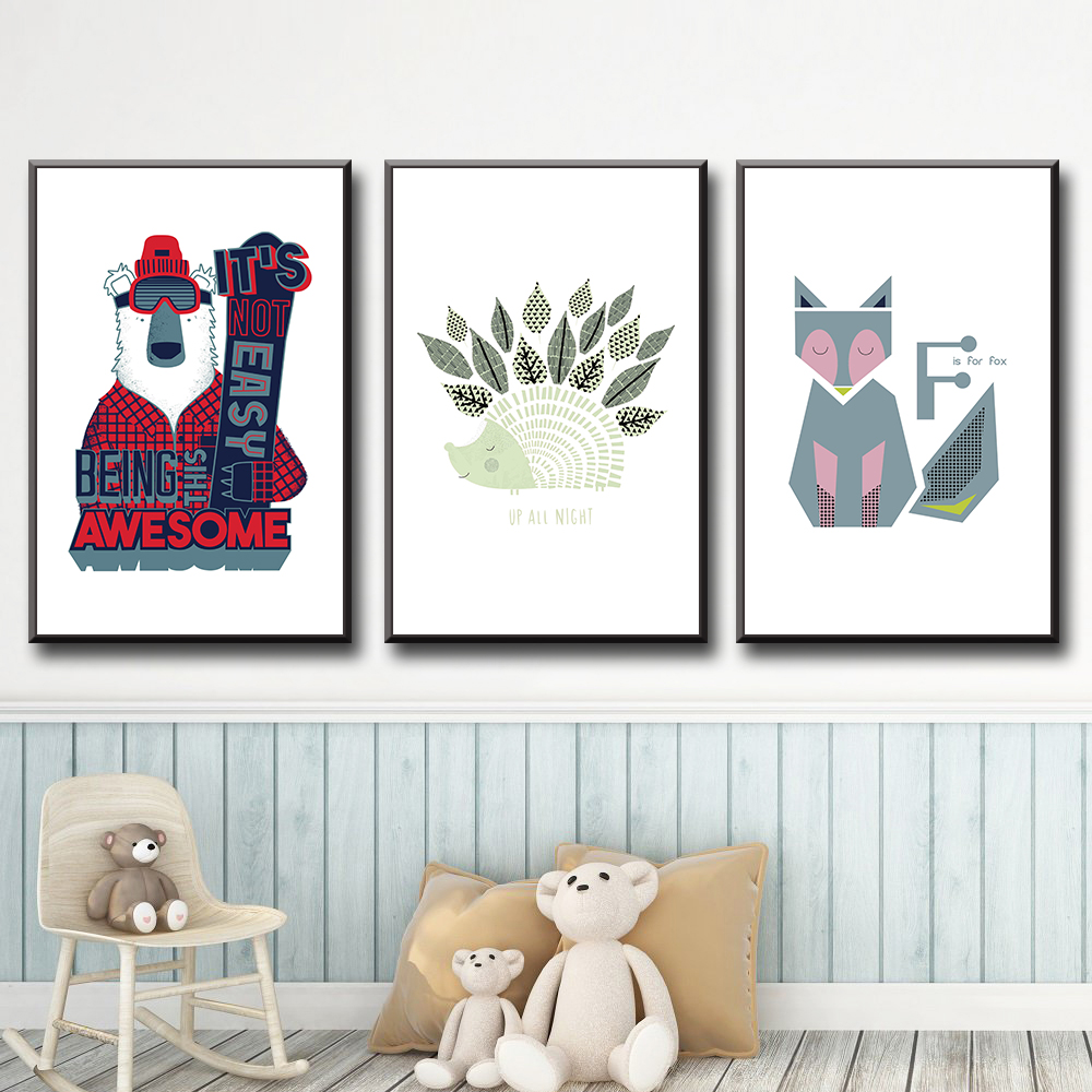 Cartoon Animals Pictures On The Wall Art Drawing Print Canvas Poster For Kids Room Painting Decor in Painting Calligraphy from Home Garden