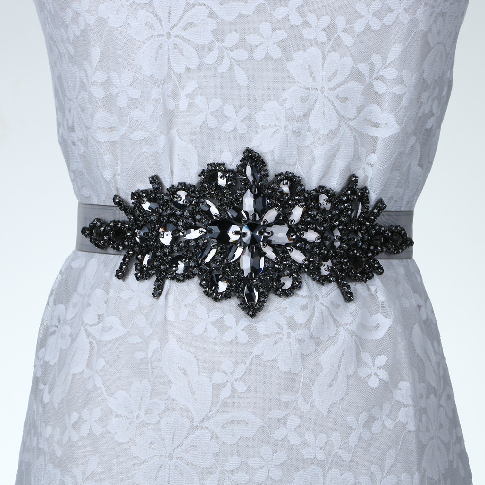 Bridal Crystal Rhinestone Braided Wedding Dress Sash Belt Black Stone White Ribbon