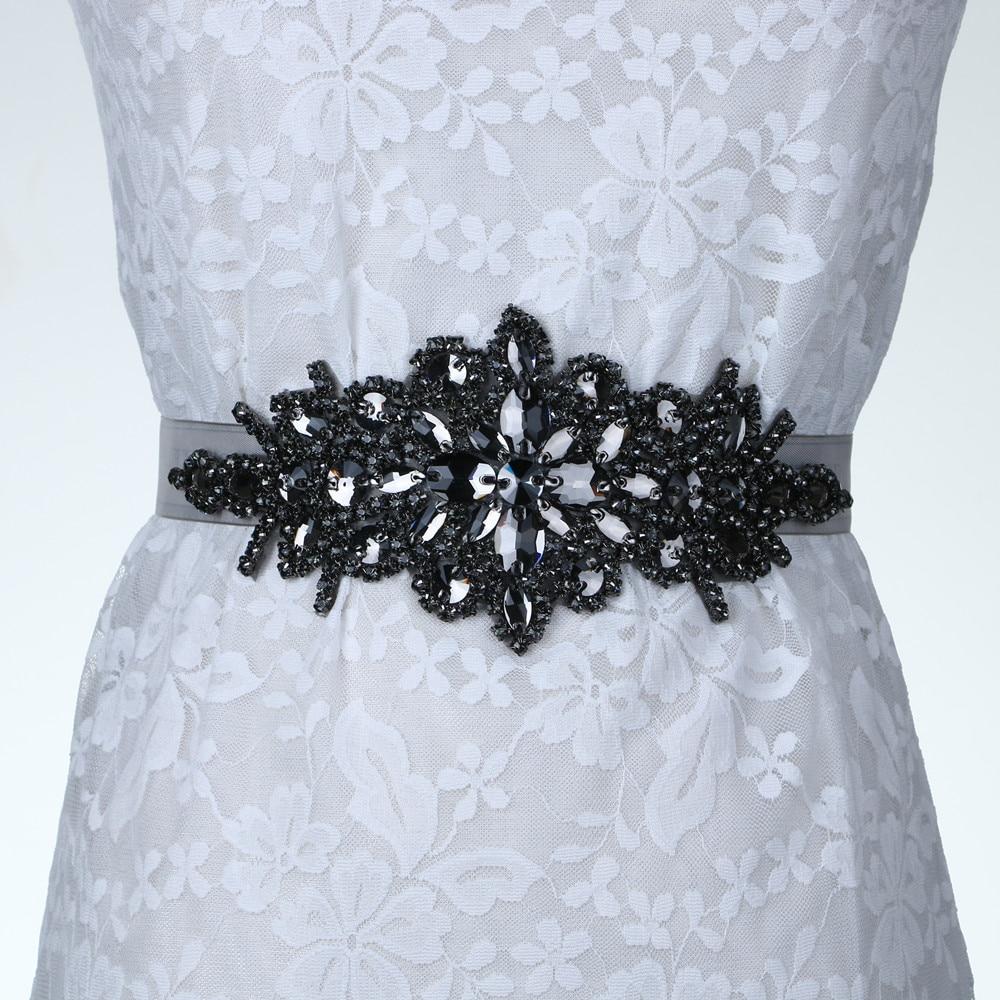 Bridal Crystal Rhinestone Braided Wedding Dress Sash Belt Black Stone White Ribbon