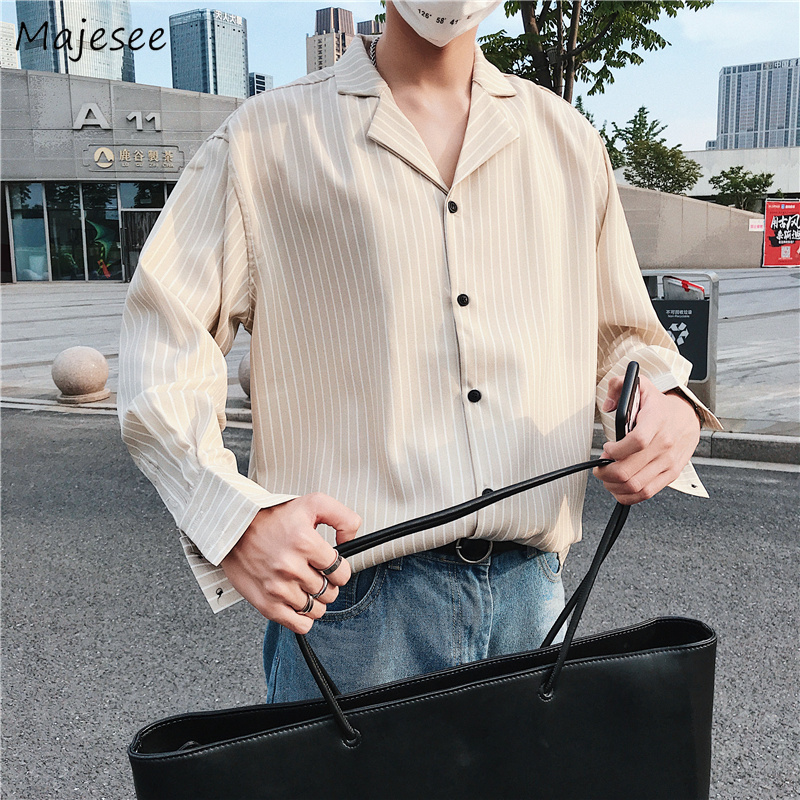 Shirts Men Autumn Striped Leisure Simple All-match Slim Long Sleeved Shirt Mens Korean Style Printed Single Breasted Clothing