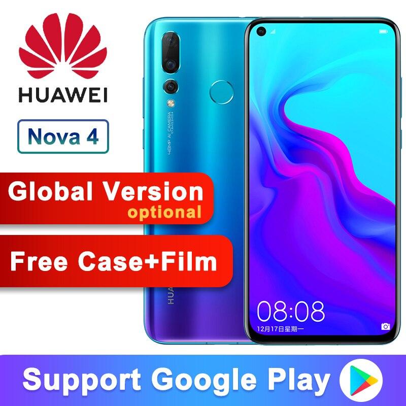 Global Version Optional Huawei Nova 4 Smartphone Android 9.0 Kirin 970 Octa Core AI Camera 6.4 Inch 4*Cameras 3750mAh Cell Phone