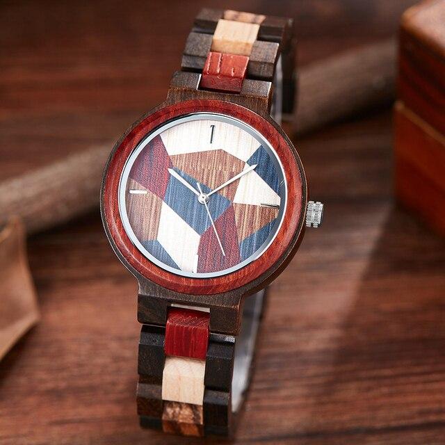 Natural Wood Watches Women Colorful Small Wooden Wristwatch Analog Quartz Female Bracelet Full Wooden Lady Retro Clock Reloj