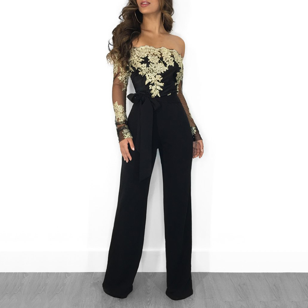 Women Lace Mesh Patchwork Slash Neck Long Sleeve Jumpsuit Sexy Hollow Out Loose Rompers Elegant Slim Night Club Party Rompers