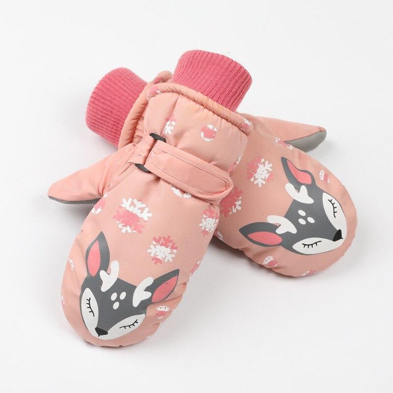 Детские зимние теплые лыжные перчатки для мальчиков и девочек, спортивные водонепроницаемые ветрозащитные Нескользящие зимние варежки, расширенные запястья, перчатки для катания на лыжах, варежки - Цвет: Pink