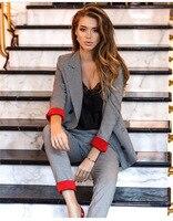 Women's Costumes Suits Classic Office Business Plaid Patchwork Double breasted Pantsuit Female Autumn Blazer Trouser Suit Set