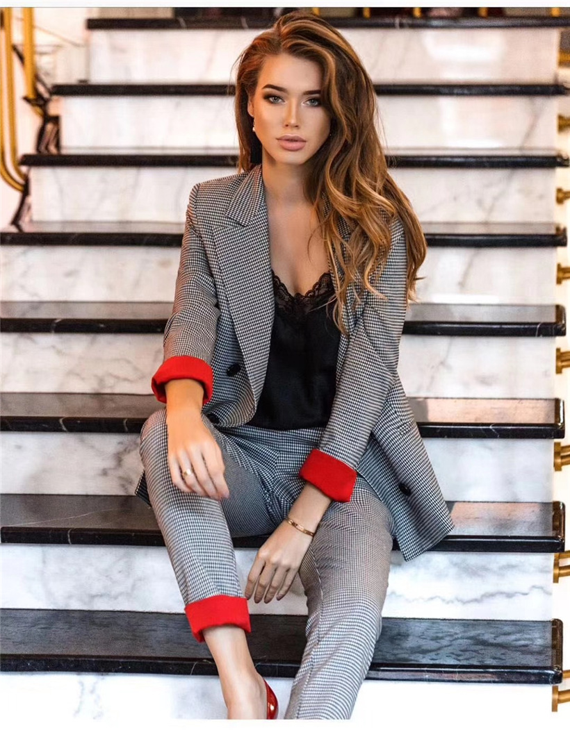 Women's Costumes Suits Classic Office Business Plaid Patchwork Double-breasted Pantsuit Female Autumn Blazer Trouser Suit Set