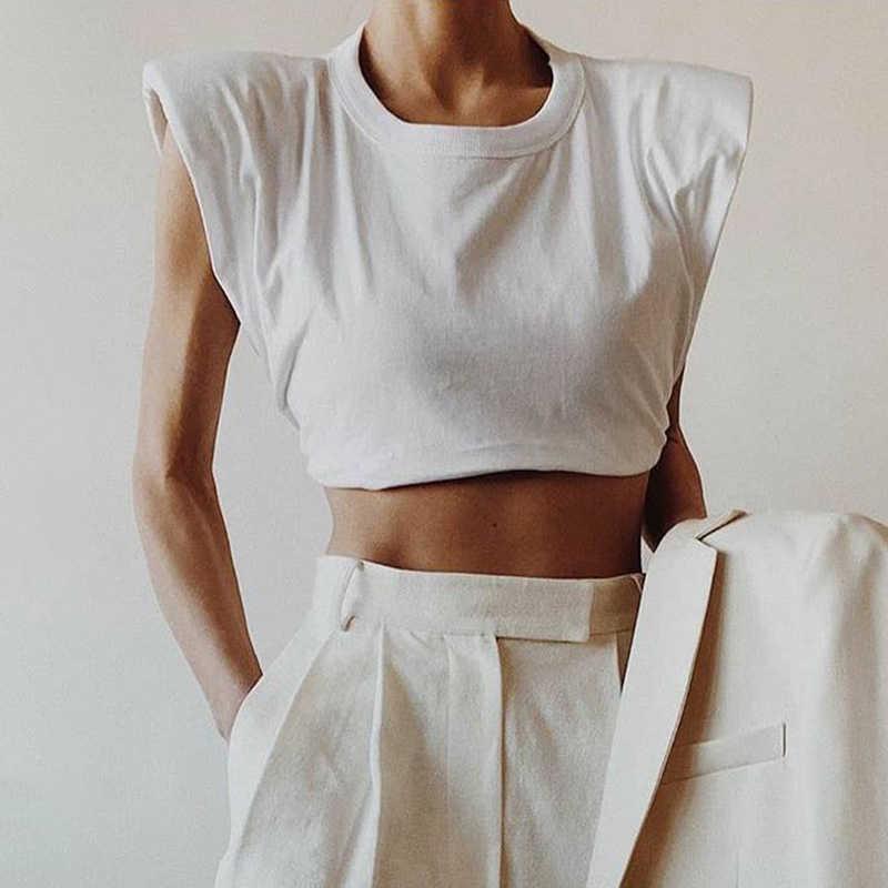 TWOTWINSTYLE Tối Giản Nữ Áo Cổ Tròn Sleevelesss Thanh Lịch Áo Thun Cho Nữ Thời Trang Quần Áo 2020 Xuân Hè