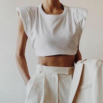 Женская футболка с круглым вырезом TWOTWINSTYLE, Элегантная короткая футболка с круглым вырезом
