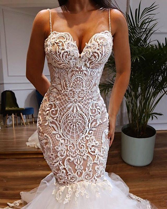 2020 Lace Mermaid Wedding Dresses Spaghetti Strap Sweetheart Neckline Bridal Gowns Trumpet Wedding Dress Beads Vestido De Novia