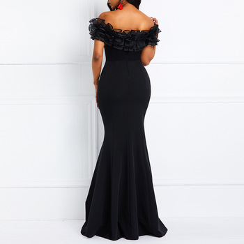 Sexy Off Shoulder Long Evening Party Dress Women Blue Bodycon Mermaid  Prom Dress Maxi African 2020 Summer Red Elegant Dresses 5