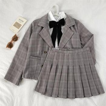 Ladies Korean Pleated-Plaid Suits