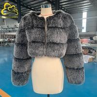 Hurtownie New Arrival kobieta futro z lisa kobiety zima gruby Fox Loog rękaw krótki styl Slim Fit zamek moda futro kurtka