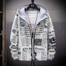 2020 New Strewear On both sides Newspaper Printed Fashion Jacket Men T