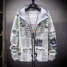 2020 חדש Strewear בשני הצדדים עיתון מודפס אופנה מעיל גברים דק סלעית מעילי מעילי בגדים בתוספת גודל