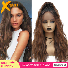Synthetic Lace Front Wigs Ombre Brown Black Color Natural Wave Long Free Part Hair Wig For Black Women Heat Resistant X-TRESS