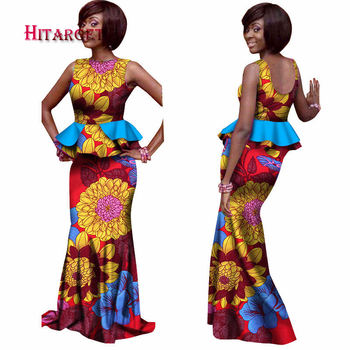 2020 Hitarget African Women 2 Pieces Sets Dashiki Cotton Print Wax Crop Top+Skirt Set+Head Scarf Good Sewing Women Suits WY1076
