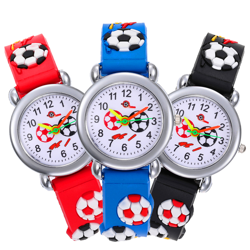 2020 New 3d Football Dial Children Watch Students Time Clock Silicone Strap Kids Watches For Girls Boys Gift Quartz Wristwatch