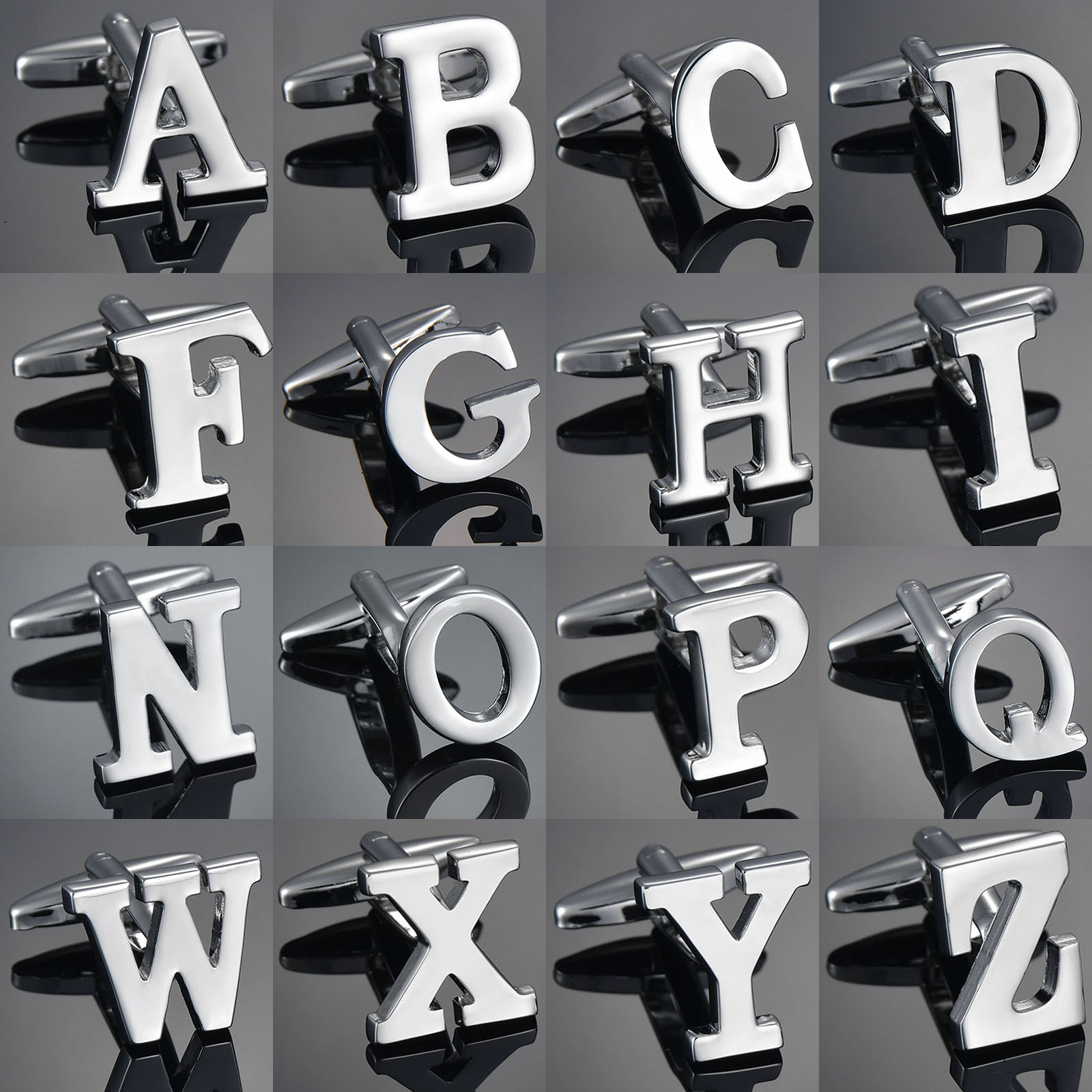 High Quality Silver 26 Letters A-Z Name Cufflinks For Mens French Shirt Cuff Links