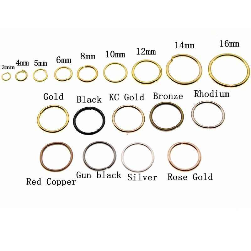 3 4 5 6 8 10 12 14 16 mm כסף זהב קפיצת טבעות יחיד לולאות להרחיב קפיצת טבעות & פיצול טבעות מחברים עבור DIY תכשיטי מציאת