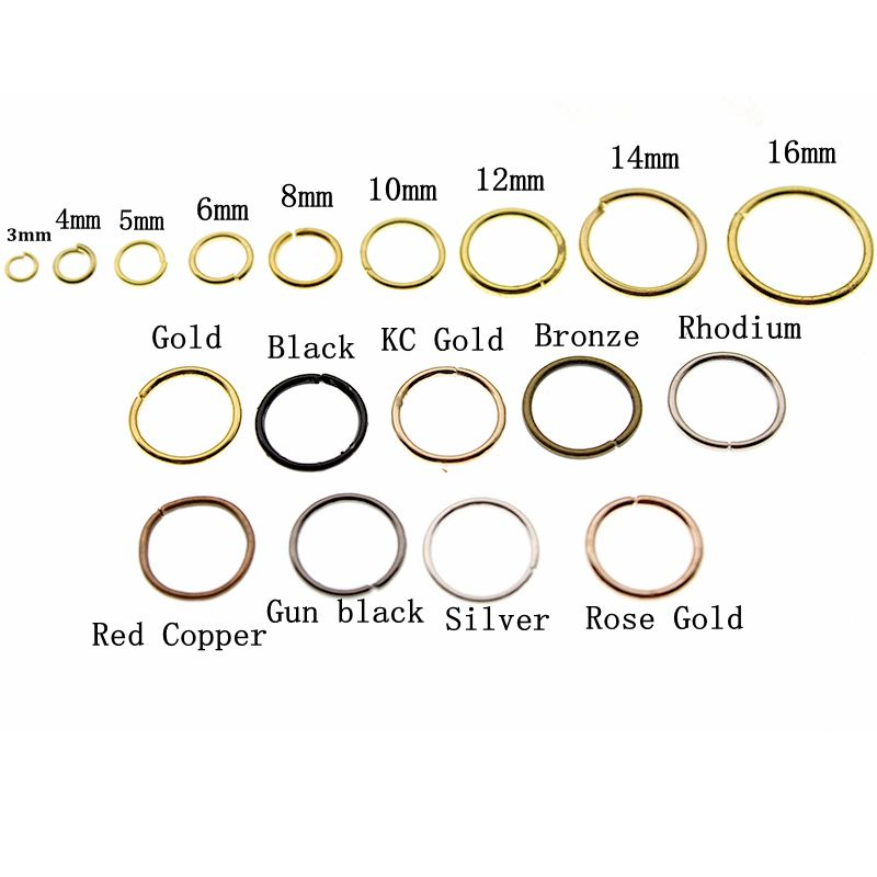 3 <font><b>4</b></font> 5 <font><b>6</b></font> 8 10 <font><b>12</b></font> 14 16 mm Silver Gold Jump Rings Single Loops Open Jump Rings & Split Rings Connectors for DIY Jewelry Finding image