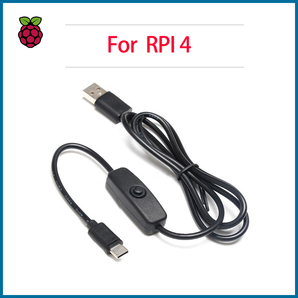 S ROBOT Raspberry Pi 4 Power Switch Line Type-c Interface 5V 3A USB Power Supply Line RPI125