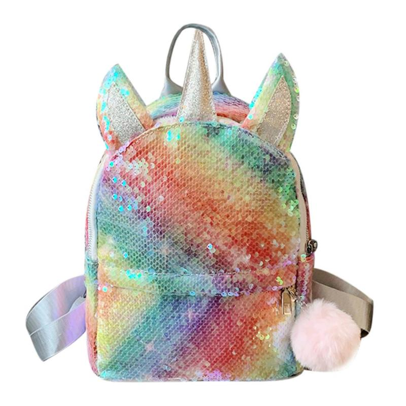 New Fashion Sequins Women Backpack Baby Girls Student Schoolbags Pompom Knapsack Cute Mini Shiny Casual Travel Rucksack Mochila