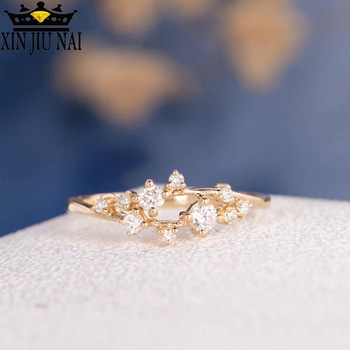 3 Colrs Chic Shining Stars Constellation Austrian Diamond Rings For Young Ladies Rose Gold Color Anel AAA Cubic Zircon Jewellery image