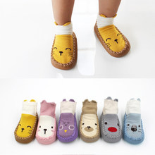 Baby Socks In Girls Boys Shoes with Rubber Soles Infant Sock Newborn Autumn Winter Children Floor Socks Shoes Anti Slip Soft(China)