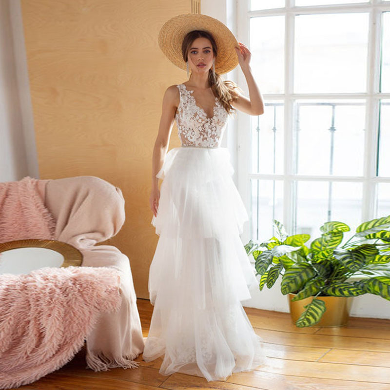 Eightale Boheimian Wedding Dress V-Neck Appliques Floor Length  Tulle A-Line Wedding Dress White Ivory Custom Made Bridal Dress