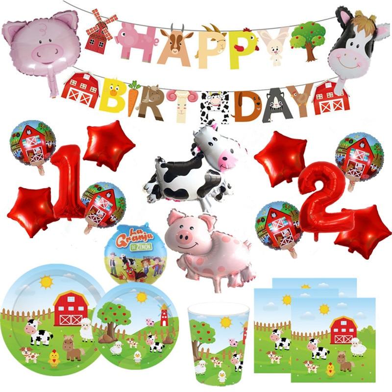 1 conjunto fazenda animal tema folha balões infláveis feliz aniversário festa decoração crianças prato de aniversário copo guardanapo banner envolvente