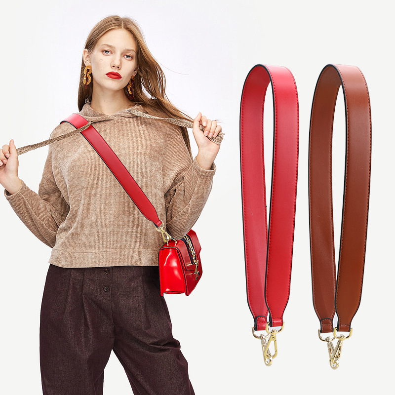 New Double-sided Wide Bag Women's Bag Wide Shoulder Strap Colorful Pu Single Shoulder Messenger Bag High Quality Accessories