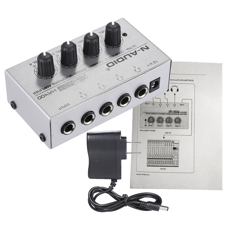 HA400 4 Channels Headphone Amplifier Mini Audio Stereo Headphone With Power Adapter Music Mixer For Recording Studio EU Plug