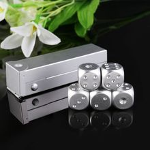 5pcs 16mm Aluminium Alloy Dice Polyhedral Metal Solid Portable Dice Poker Party 652D