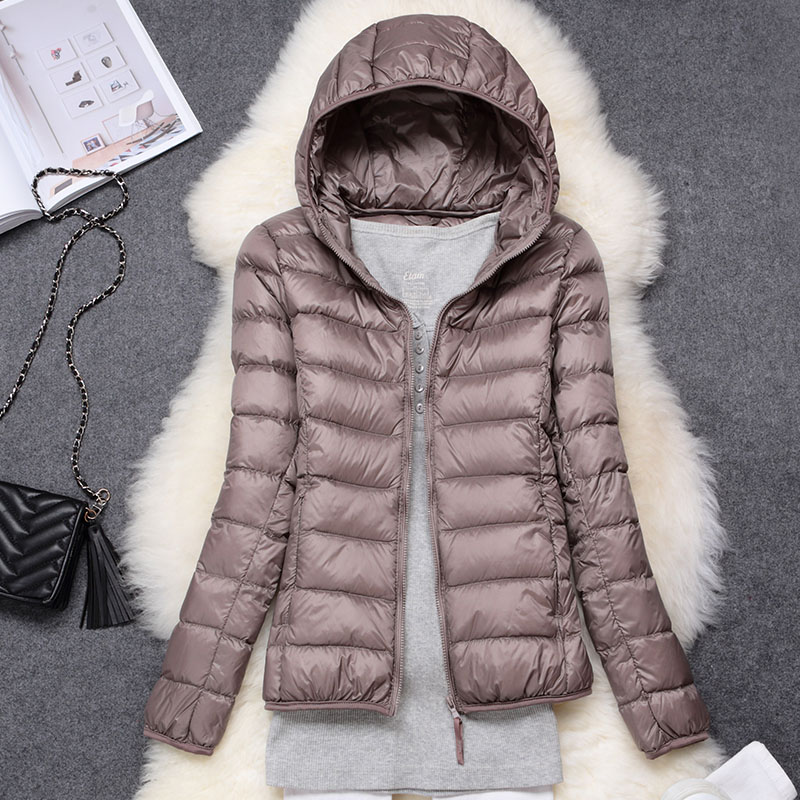 Winter Women Ultralight Thin Down Jacket White Duck Down Hooded Jackets Long Sleeve Warm Coat Parka Female Portable Outwear 1
