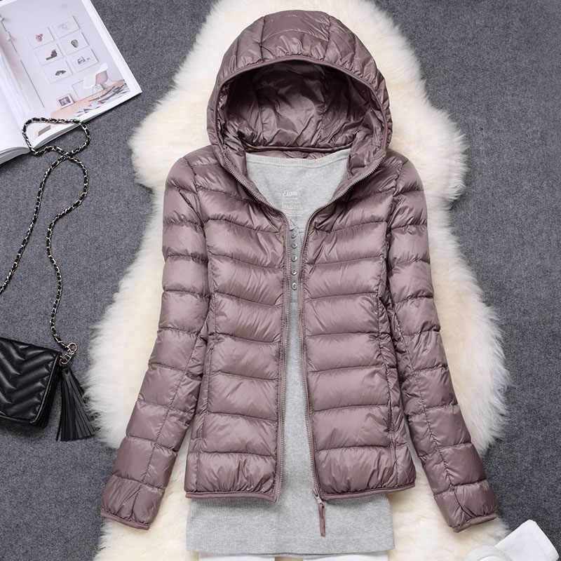 Winter Vrouwen Ultralight Dunne Donsjack Witte Eendendons Hooded Jassen Lange Mouwen Warme Jas Parka Vrouwelijke Draagbare Uitloper