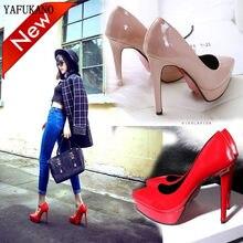Super alta com 12 cm womens sapatos estilo europeu americano boca rasa sexy saltos altos stiletto único sapatos de casamento vermelho