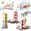 Raum Station Saturn V Rakete Bausteine Stadt Shuttle Launch Center Atellite Astronaut Abbildung Bricks Set Kinder Spielzeug Geschenk