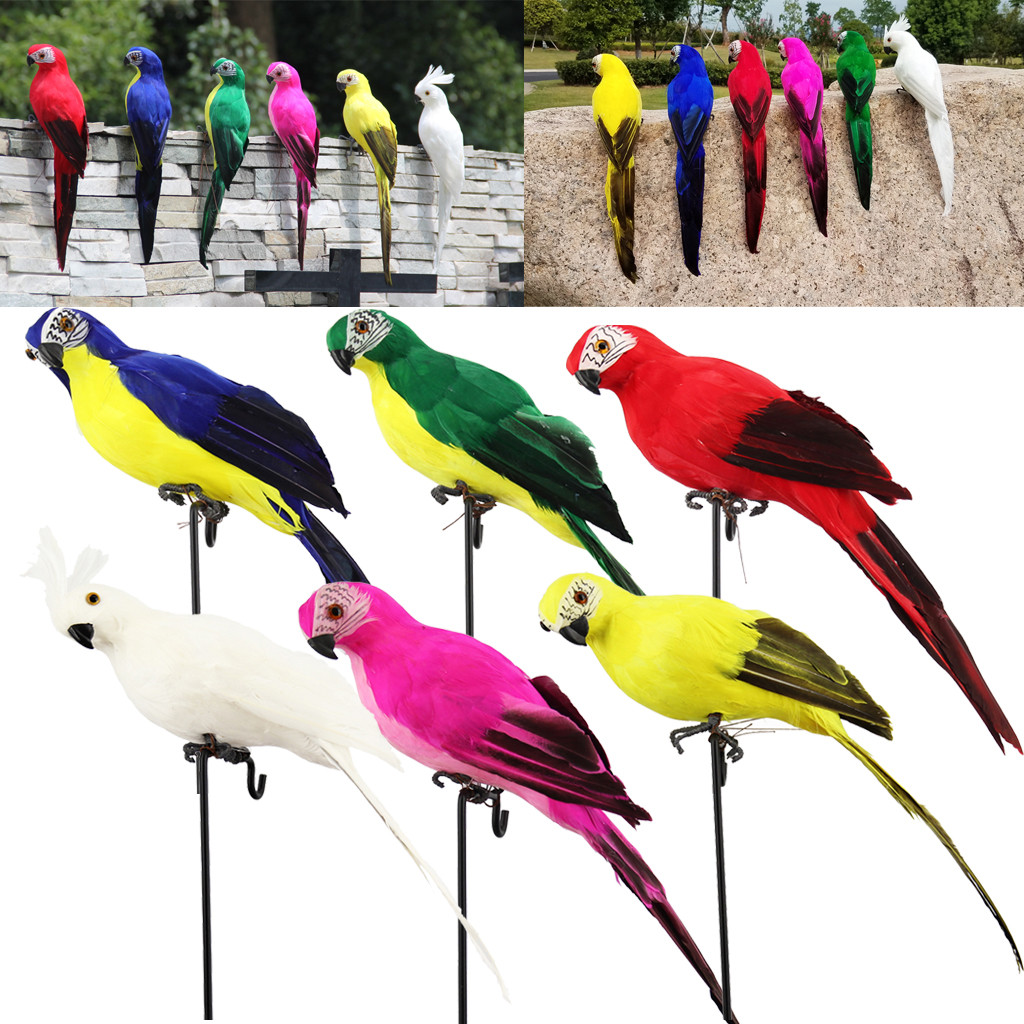 Artificial-Birds-Model Tree-Decor Fake-Parrots Colorful Outdoor Drop-Shipping-Accessories